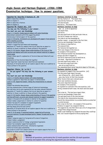 Edexcel GCSE History (9-1) British Depth Study Anglo Saxon and Norman England EXAM TECHNIQUE