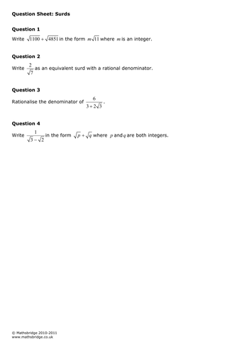 Surds Practice Question Sheet and Examination Style Questions