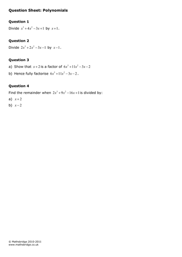 Polynomials, Factor and Remainder Theorem Practice Questions