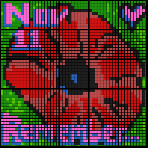 Colouring by One and Two Step Equations - Remembrance Day (25-Worksheet Mosaic)