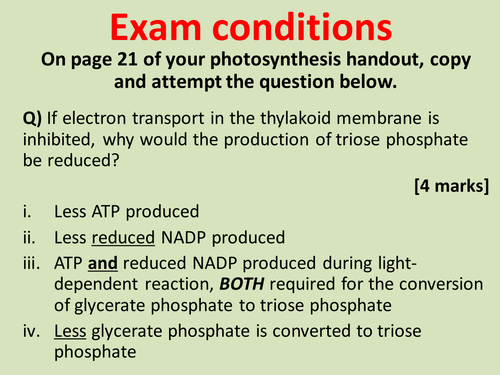 AQA A-level Biology (2016 specification). Section 5 Topic 11: Photosynthesis 4 Factors affecting