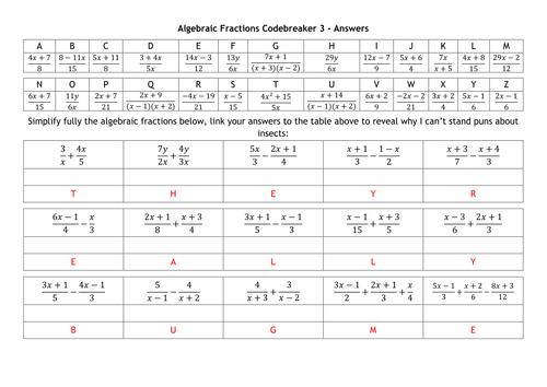 Algebraic Fractions worksheet by Hel466 Teaching Resources Tes – Multiplying and Dividing Algebraic Fractions Worksheet