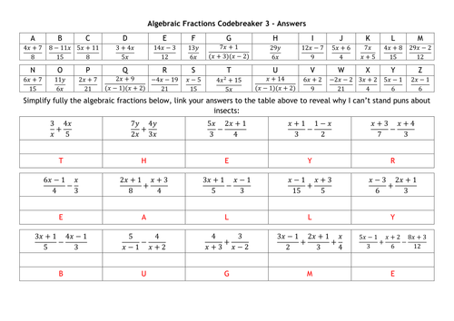 Algebraic Fractions Codebreakers By Alutwyche Teaching Resources Tes