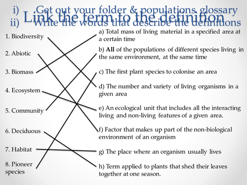 AQA A-level Biology (2016 specification). Section 7 Topic 19: Populations 6 Succession
