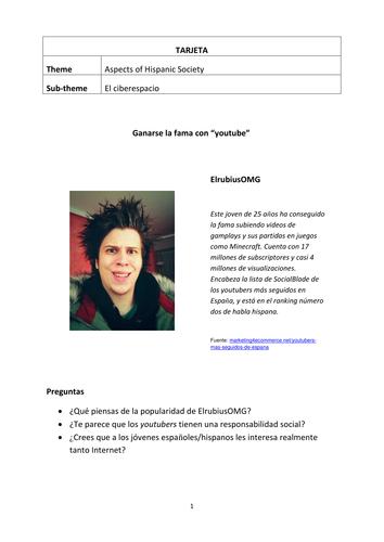 Speaking cards, general questions and statements El Ciberespacio (AQA)