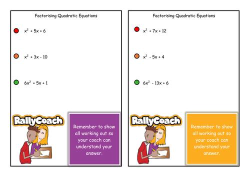 Outstanding Factorising Quadratic Equations Activity Cards