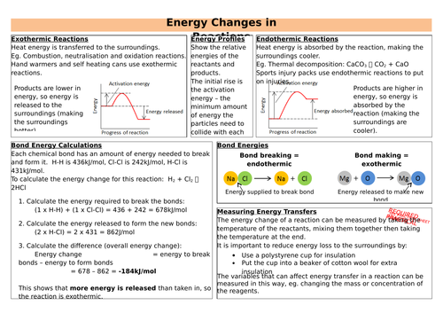 Energy Changes in Reactions Revision Sheet (new AQA)