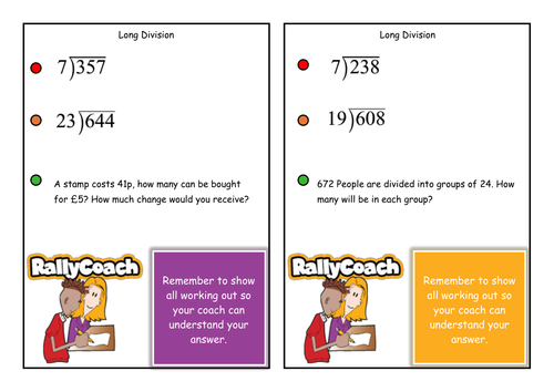 Outstanding Long Multiplication and Division Co-operative Learning Cards