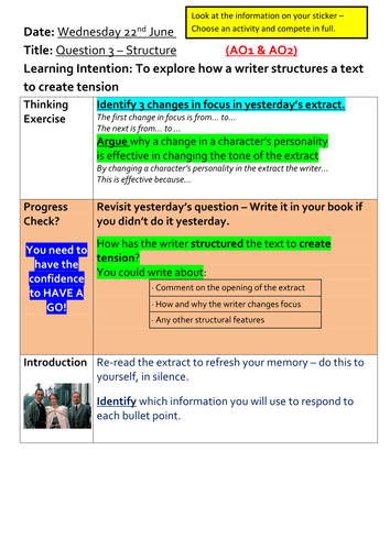 Analysing Structure - AQA Paper 1