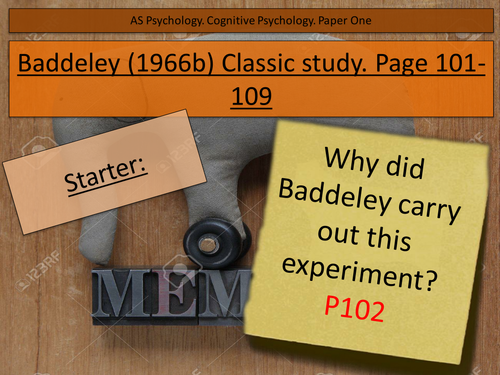 Baddeley Classic study. cognitive psychology AS Edexcel. Working memory model