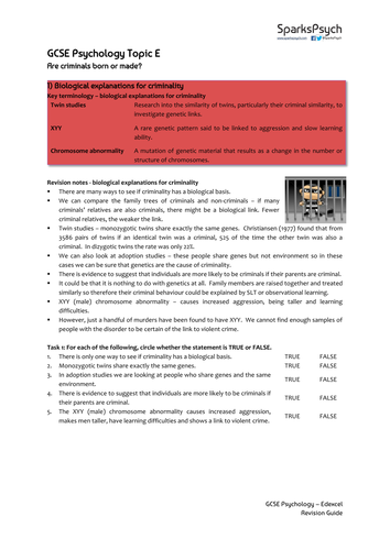 Criminality Psychology Edexcel GCSE Unit E
