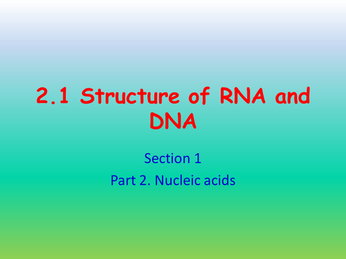 Structure of RNA and DNA. AQA AS 3.1.5.1
