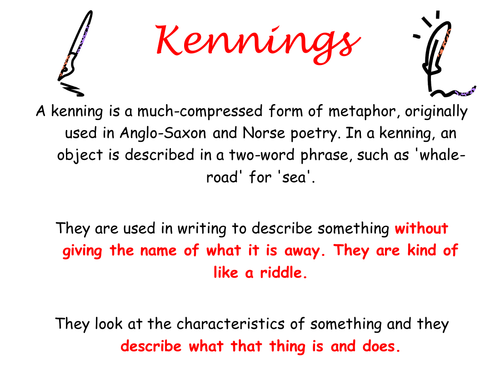 Ks2 Ks3 Poetry History Of English Kennings Creative Writing By