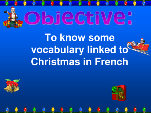Christmas vocabulary in French and puzzles