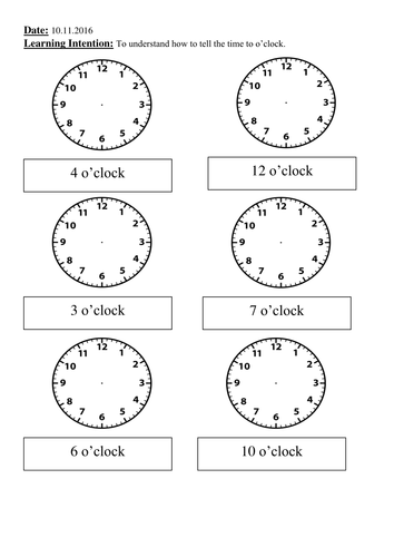 year 1 telling the time to o 39 clock by weezywombat teaching resources tes. Black Bedroom Furniture Sets. Home Design Ideas