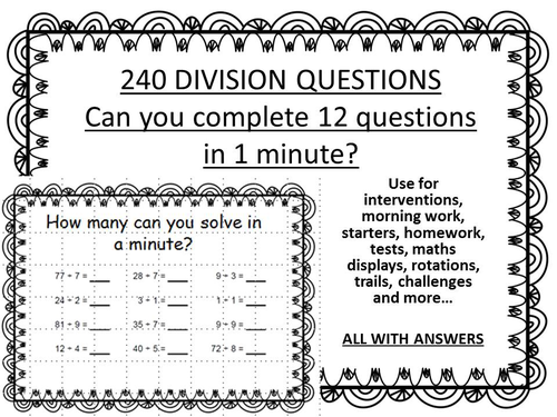 240 DIVISION QUESTIONS - minute challenge by erylands - Teaching ...