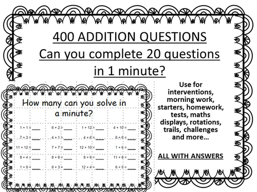 400 ADDITION QUESTIONS - minute challenge by erylands - Teaching ...