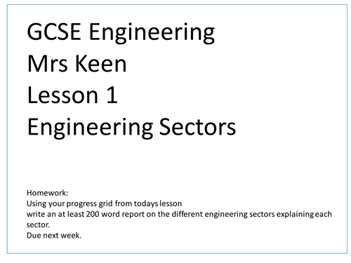 KS4 Engineering Sectors Lesson