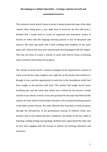 PGCE module essay - creating a scheme of work