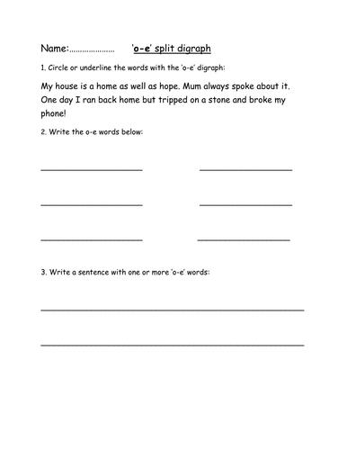 o-e' Split Digraph Phoneme Spotter Worksheet by megaalex66 ...