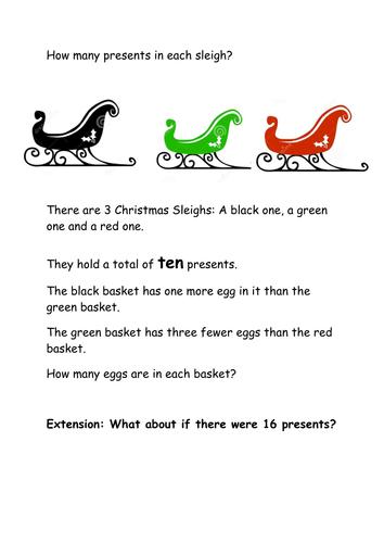KS1 Christmas Maths investigation based on NEW KPIS/ Attainment Targets for KS1 Maths curriculum.