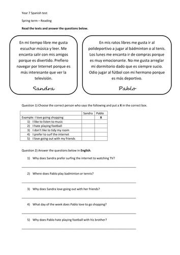 KS3 exam paper