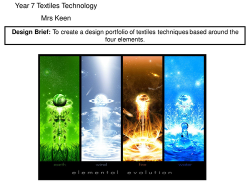 Year 7 Textiles Technology The Four Elements SOW KS3