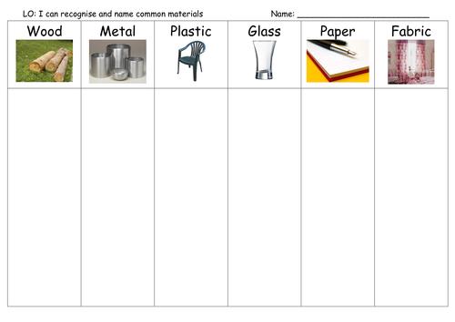 Material Hunt worksheet