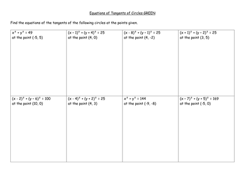 Equations of Tangents to Circles by mrsmorgan1 Teaching – Graphing Circles Worksheet