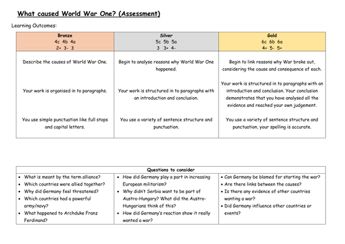 3 - What caused World War One (Assessment)