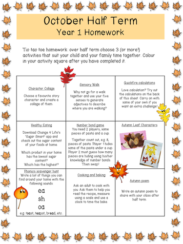 Whole year's worth of Year 1 holiday and half term homework