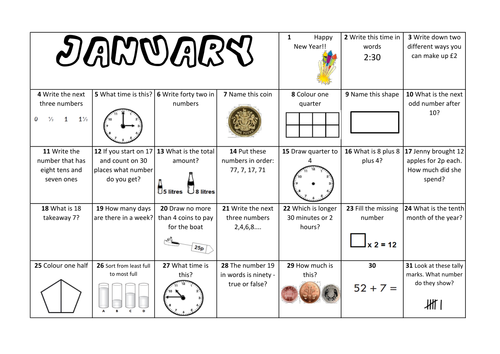 Question a Day Calendar (Maths) - January KS1