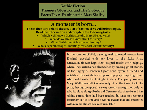 Gothic Fiction: 'Frankenstein' - Mary Shelley (lesson 1)
