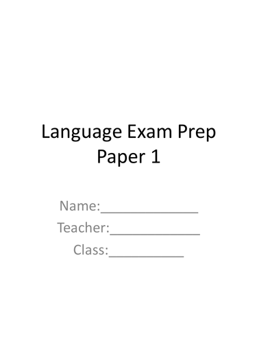AQA Language Exam Paper 1 Practice Booklet and Anthology