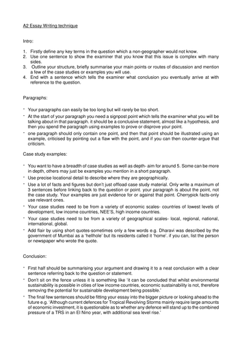 A Level Geography Essay Writing Technique Cheat Sheet By Naomimoore  A Level Geography Essay Writing Technique Cheat Sheet By Naomimoore   Teaching Resources  Tes Argument Essay Thesis Statement also Business Plan Help Ottawa  Sample Essay High School