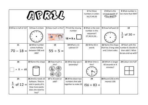 April Calendar Questions : Laurajanetutoring s shop teaching resources tes