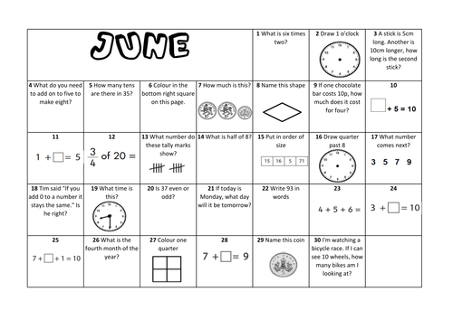 Question a Day Calendar (Maths) - June KS1