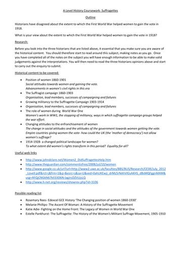 A2 History coursework pln. Please help?