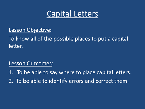 Capital Letters for Year 6 SATS and others