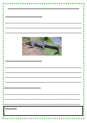 Information Sheets on Crocodiles Year 3 (Differentiated worksheets)
