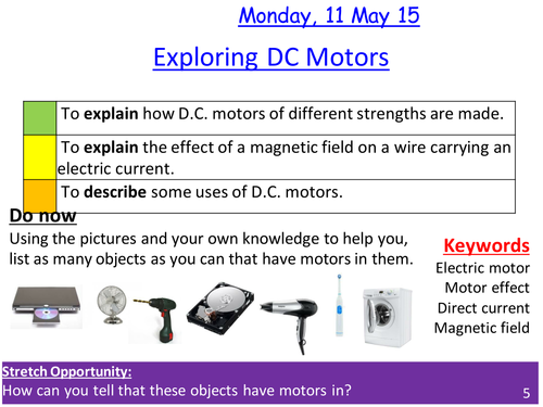 DC (direct current) Motors and the motor effect lesson