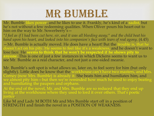 Mr and Mrs Bumble Notes