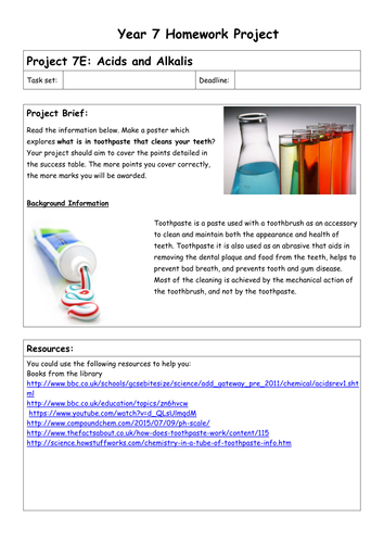 Chemistry homework projects - year 7