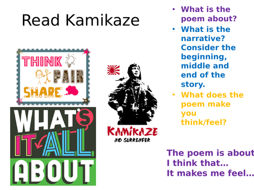 Kamikaze Beatrice Garland GCSE poetry 9-1 with interleaved content & structure strip for comparison
