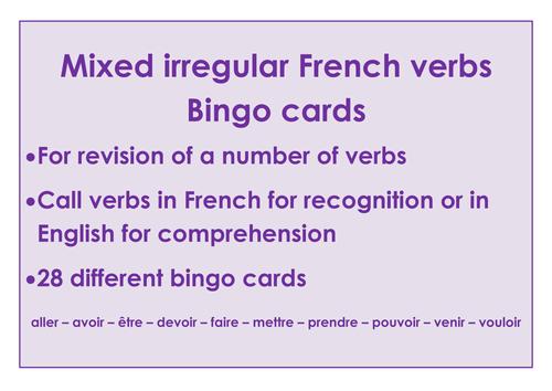 Mixed Irregular French verb bingo cards