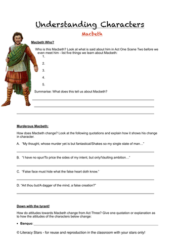 macbeth character analysis sheets by literacystars teaching  macbeth character analysis sheets by literacystars teaching resources tes