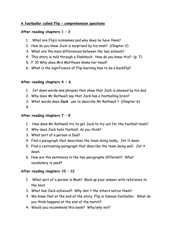 a footballer called flip by ian whybrow guided reading planning