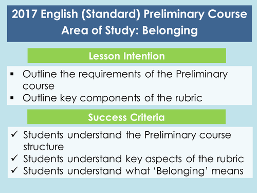 Introduction to Area of Study: Belonging
