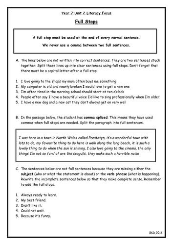 Full Stops Worksheet When To Use Add Them In Comma Splicing