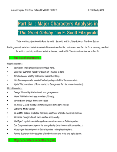 A level English 'The Great Gatsby' Major Character Analysis